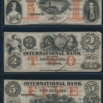 International Bank of Canada 1858 three high grade notes $1, $2, $5