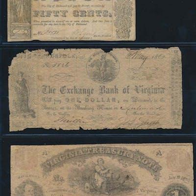Virginia Treasury Note $1, Exchange Bank of Virginia $1, City of Richmond