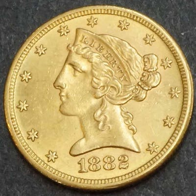 USA 1882s $5 Gold Eagle Nice Uncirculated Coin