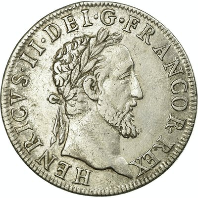 Coin, France, Henri II, Teston au moulin, 1553, Paris, 3rd type, EF(40-45)