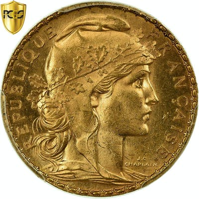 Coin, France, Marianne, 20 Francs, 1905, PCGS, MS64, Gold, KM:847, graded