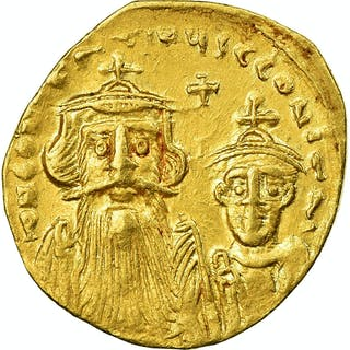 Coin, Constans II and Constantine IV, Solidus, 654–659, Constantinople