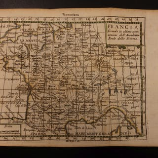 1742 Color Copper MAP of FRANCE Paris English Channel Francia 15 X 22cm