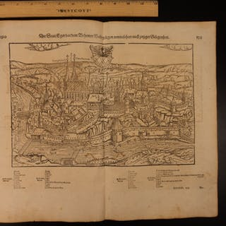 1628 MAP City of Cheb CZECH Republic Sebastian MГјnster Cosmographia