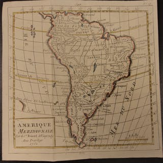 1784 Color MAP of South America Brazil Chile PERU Argentina Amazon Vaugondy