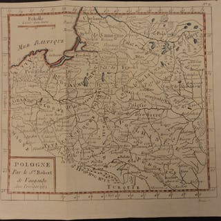 1784 Color MAP of POLAND Prussia Hungary Turkey Turks Baltic Sea Vaugondy