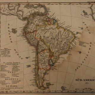 1833 Color Steel MAP of South America Brazil Peru Argentina Amazon 26cm X 22cm