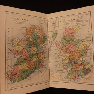 1858 Elementary School ATLAS Alexander Johnston Geography Color Double-Page