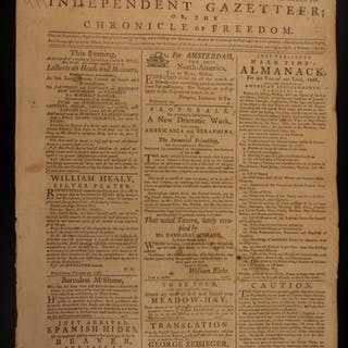 1788 Independent Gazetteer American Newspaper United States Constitution PA