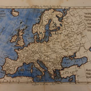 1780 Color Copper Map EUROPE France Spain United Kingdom Italy Bonne