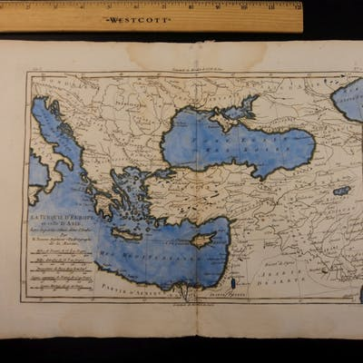 1780 Color Copper Map TURKEY Asia Minor Greece Middle East Palestine