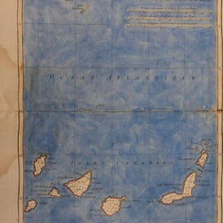 1780 Color Copper Map CANARY ISLANDS Africa Morocco Bonne 41cm X 27cm