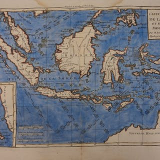 1780 Color Copper Map OCEANIA Philippines Borneo Indonesia Malaysia 41cm X 27cm