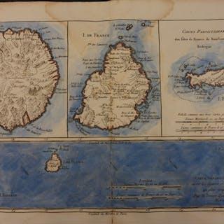 1780 Color Map Africa African Islands Bourbon Reunion Mauritius Bonne 41 X 27cm