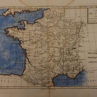 1780 Color Copper Map FRANCE Normandy Paris Cannes Bonne 41cm X 27cm