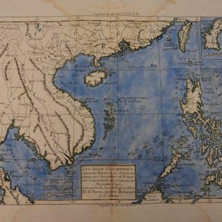 1780 Color Copper Map PHILIPPINES Siam Vietnam Thailand Burma Bonne 41cm X 27cm