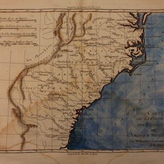 1780 Color Copper Map UNITED STATES Colonies Carolinas USA Bonne 41cm X 27cm