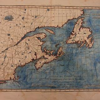1780 Color Copper Map CANADA Newfoundland New England USA Bonne 41cm X 27cm