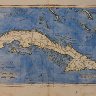 1780 Color Copper Map CUBA Antilles Caribbean Sea Bahamas Bonne 41cm X 27cm
