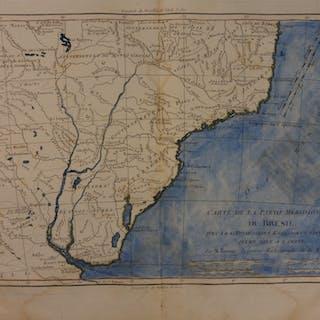 1780 Color Copper Map BRAZIL South America Rio de Janeiro Bonne 41cm X 27cm