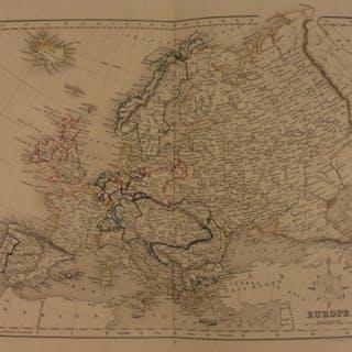 1861 Color Steel Map EUROPE France Spain Austria Russia Britain 41cm X 32cm