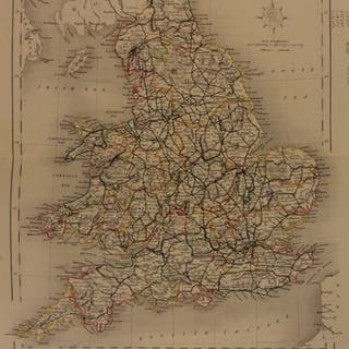 1861 Color Steel Map UNITED KINGDOM England London Wales Britain 41cm X 32cm