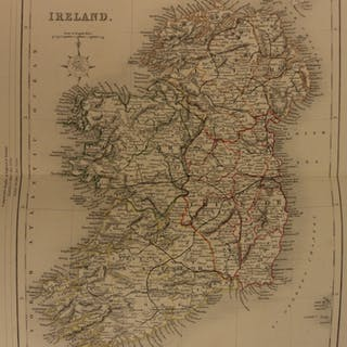 1861 Color Steel Map IRELAND Northern Ireland Ulster Waterford Britain
