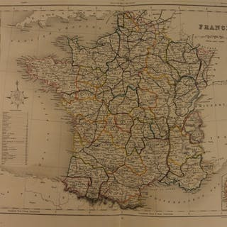 1861 Color Steel Map FRANCE Corsica French Alps Normandy Flanders 41cm X 32cm