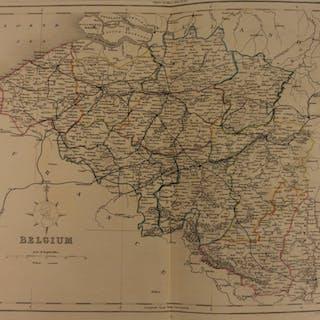 1861 Color Steel Map BELGIUM Flanders Flemish Low Country Antwerp 41cm X 32cm