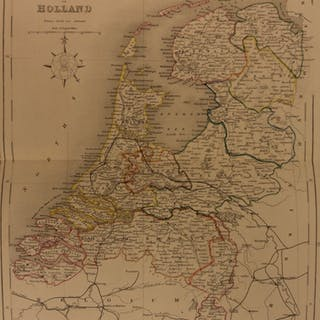 1861 Color Steel Map NETHERLANDS Holland Dutch Amsterdam Utrecht 41cm X 32cm