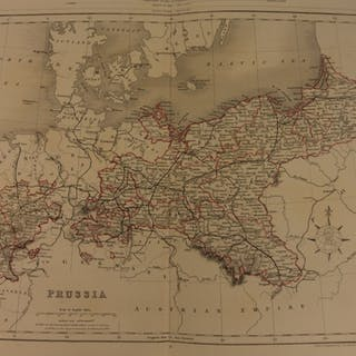 1861 Color Steel Map PRUSSIA Germany Saxony Poland Pomerania 41cm X 32cm