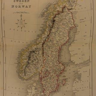 1861 Color Steel Map SCANDINAVIA Sweden Norway Finland Lapland 41cm X 32cm