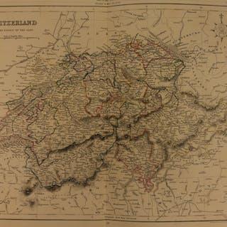 1861 Color Steel Map SWITZERLAND Bern Swiss ALPS Geneva Zurich 41cm X 32cm