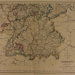 1861 Color Steel Map Southern GERMANY Bavaria Saxony Munich Bohemia 41cm X 32cm
