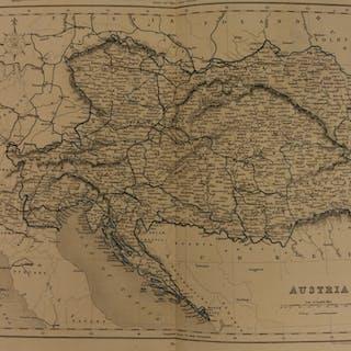 1861 Color Steel Map AUSTRIA Bohemia Hungary Transylvania Croatia 41cm X 32cm