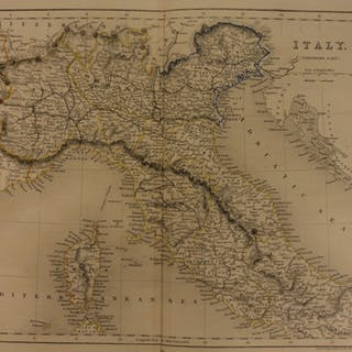 1861 Color Steel Map Northern ITALY Tuscany Rome Lombardy Corsica 41cm X 32cm