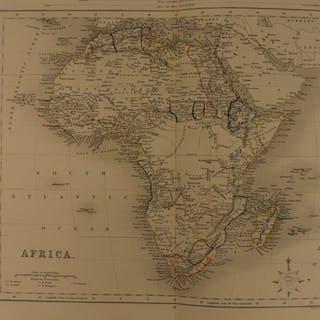 1861 Color Steel Map AFRICA Egypt Soudan Arabia Morocco Guinea 41cm X 32cm