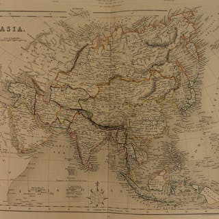 1861 Color Steel Map ASIA China India Japan Korea Iraq RUSSIA 41cm X 32cm