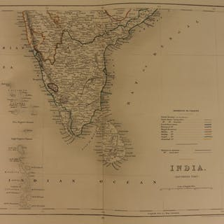 1861 Color Steel Map Southern INDIA Hindustan Bombay Sri Lanka 41cm X 32cm