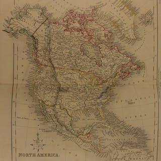 1861 Color Steel Map NORTH AMERICA United States Canada Mexico 41cm X 32cm