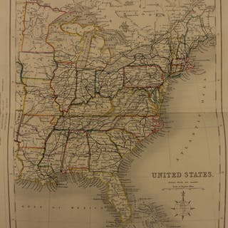 1861 Color Steel Map UNITED STATES Colonies New York Florida Ohio 41cm X 32cm