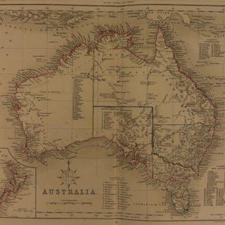 1861 Color Steel Map AUSTRALIA Tasmania New Zealand NSW 41cm X 32cm