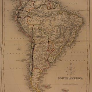 1861 Color Steel Map SOUTH AMERICA Brazil Peru Patagonia Amazon 41cm X 32cm