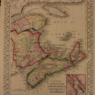 1866 Color Map of CANADA Nova Scotia New Brunswick Fundy Breton Price Edward
