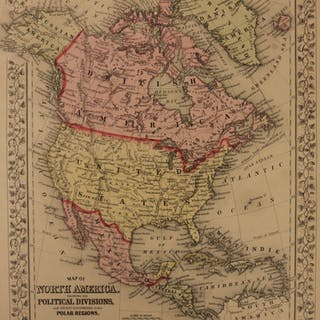 1866 Color Steel Engraved Map of NORTH AMERICA United States Canada Mexico Cuba