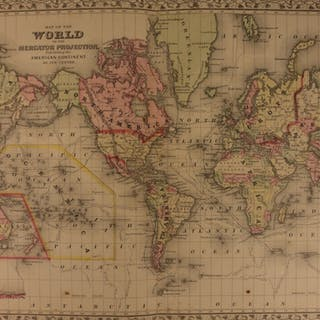 1866 Color Steel Engraved WORLD MAP North America Africa Asia Europe Australia