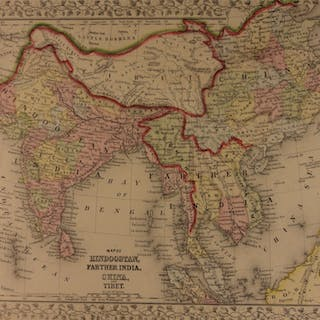 1866 Color Steel Engraved Map of INDIA Tibet China Borneo Hindustan Nepal Asia
