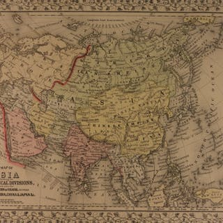 1866 Color Engraved Map of ASIA China Japan India Middle East Persia Korea
