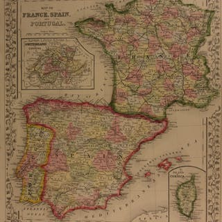 1866 Color Steel Engraved Map of FRANCE Spain Portugal Corsica Swiss Cantons