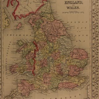 1866 Color Steel Engraved Map of UNITED KINGDOM Great Britain England Wales